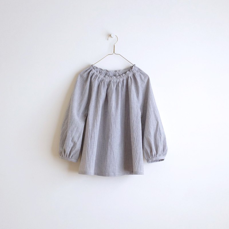 Daily hand-made suit light gray blue pinstripe puff sleeve elastic blouse linen cotton