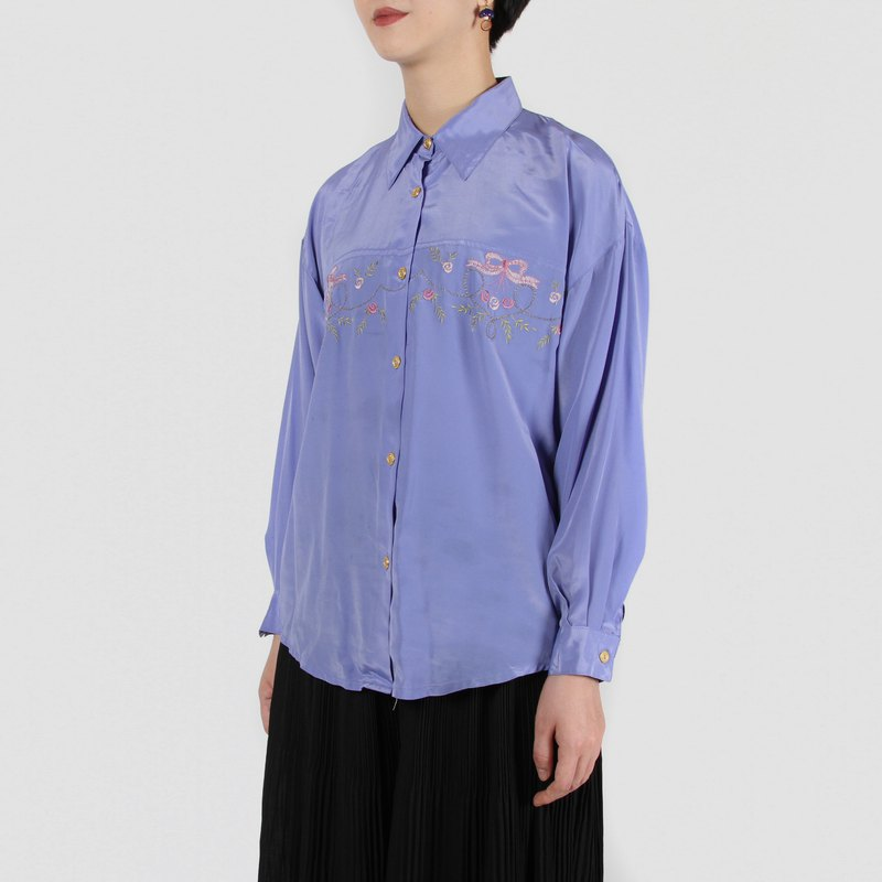 [Egg Plant Vintage] Roland Nightmare Embroidered Vintage Shirt