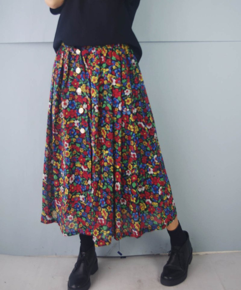 Treasure Hunt Vintage - Vintage Black Chiffon Floral Rose Button Maxi Dress