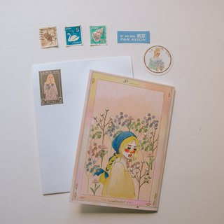 Spring flower season A6 card with sticker envelope