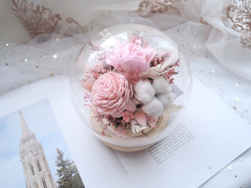 Dry flower glass cover night light [soft breath] wedding/opening