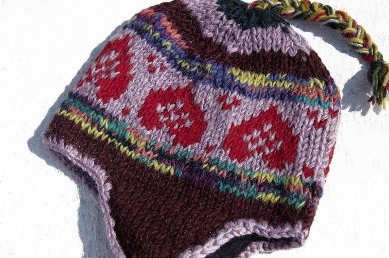 Christmas gifts exchange gifts creative gift limited a handmade knitted wool hat / handmade wool cap / knitted wool cap / flying cap / wool cap - taro macarons Fair Isle pattern Eastern Europe ethnic totem