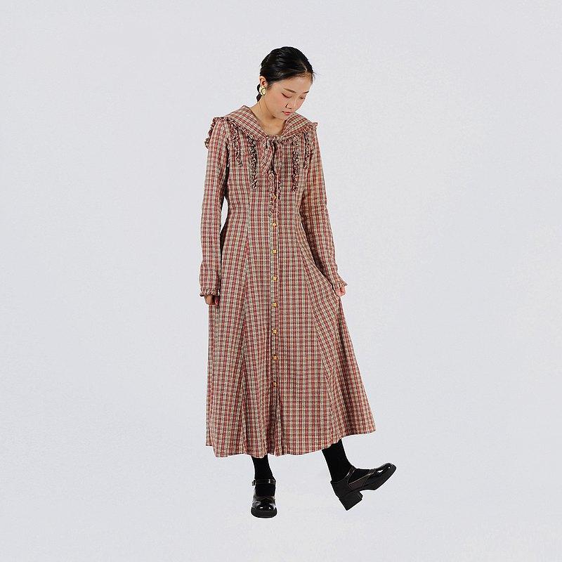 【蛋植物古著】小鎮漫遊水手領格紋古著洋裝
