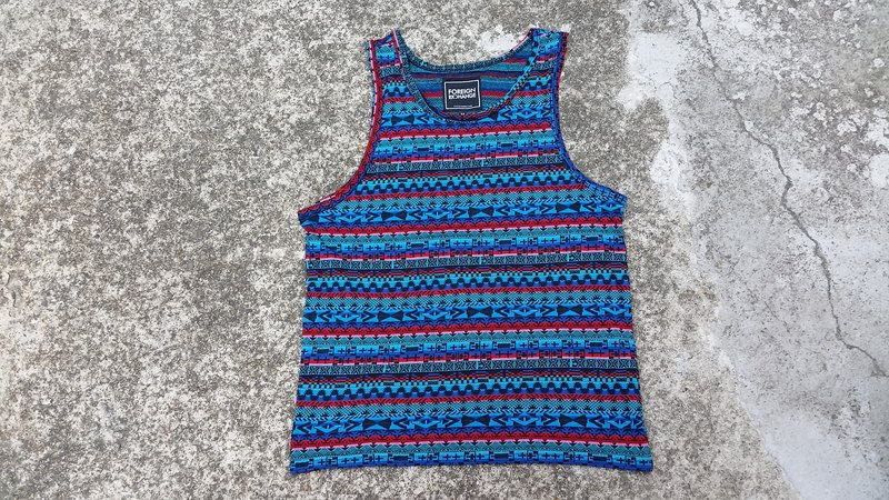 AMIN'S SHINY WORLD Featured National Color Threaded Jacquard Colorful Blue Red Vest