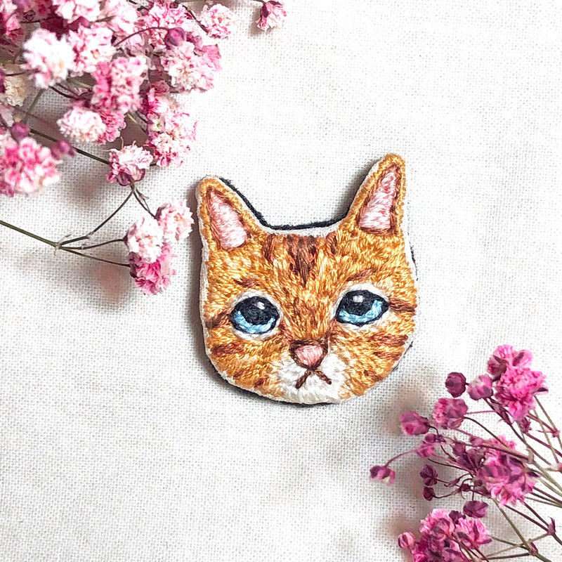【Ginger Cat】Hand Embroidery Brooch, Pin, Badge