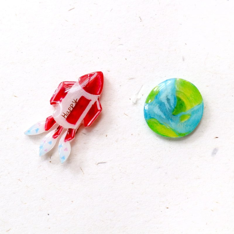 Earth and rocket  earrings