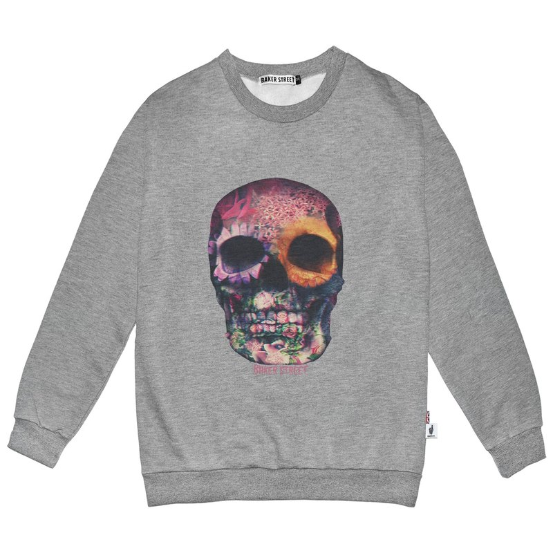 British Fashion Brand -Baker Street- 3D Skull Printed Sweater