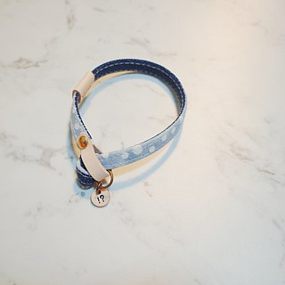 Cat collar (without tag) Double-sided wave water Jade and blue dotted random pattern
