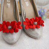 水晶鑽 火紅花花 閃爍 甜美 鞋飾 鞋夾 婚宴鞋 新娘 高跟鞋