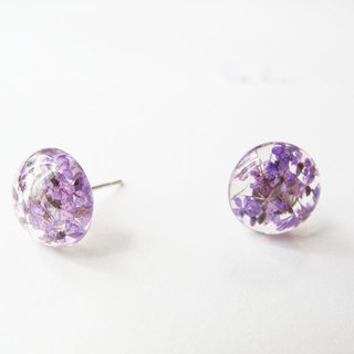 Rosy Garden  purple Queen Annes lace flower resin earrings