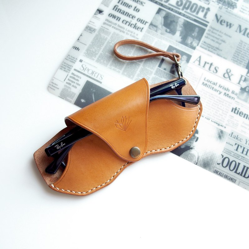 Handmade Personalized Slim Glasses Case, Vegetable Tanned Leather