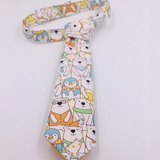Polar bear penguin friend custom tie tie bow tie boy