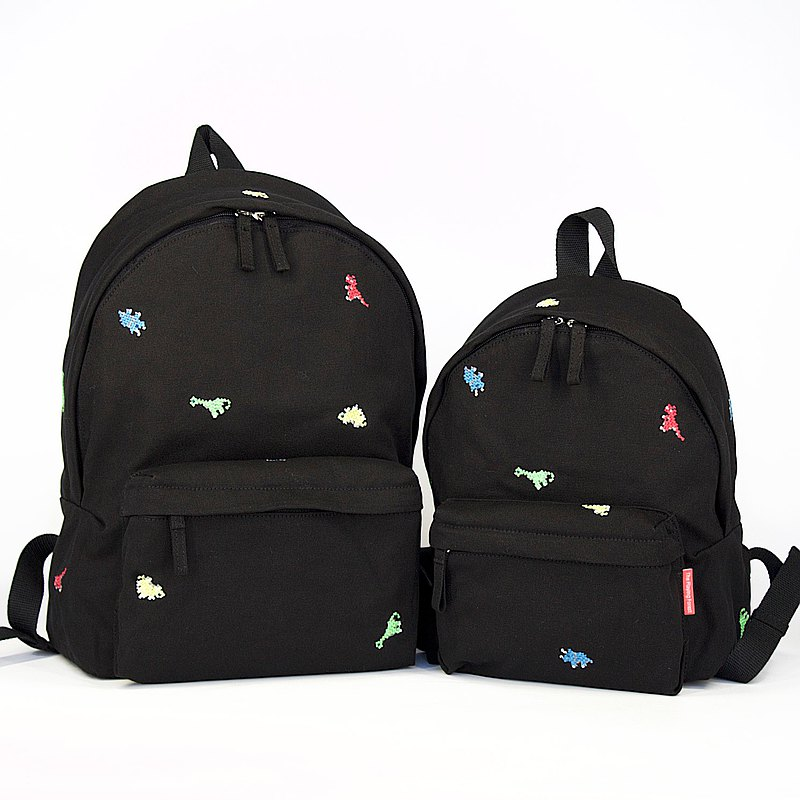 Dinosaur Embroidery Canvas Backpack (Mini, A4) / Black/ for both adults and kids