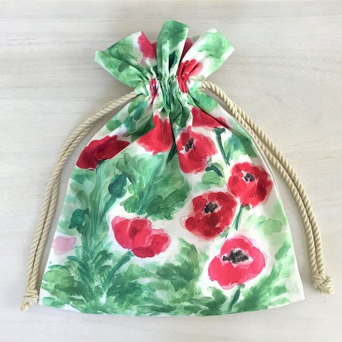 Wonder Flower Drawstring Pouch Floral Pattern Red Poppy