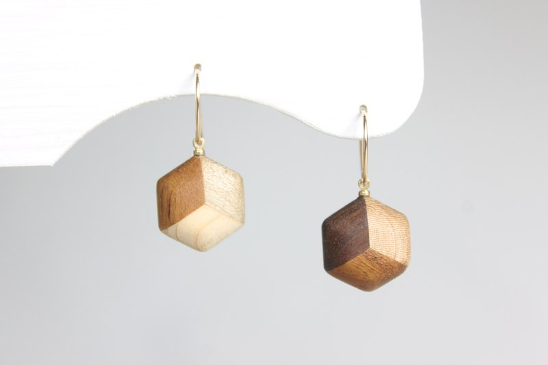 Parquet hexagonal earrings