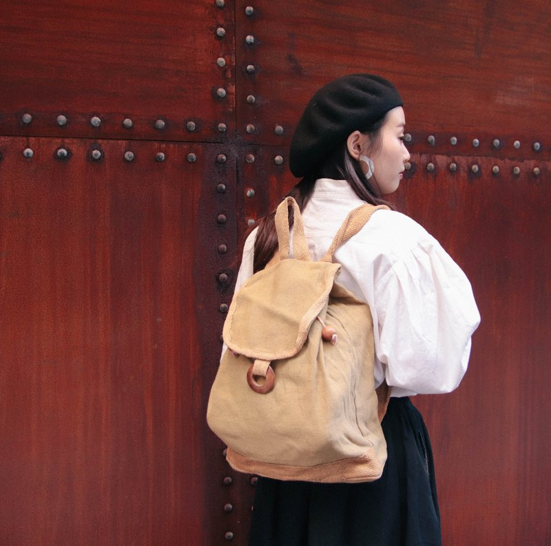 Ancient bag after the backpack linen cloth linen outdoor light leisure [Tsubasa.Y ancient house]