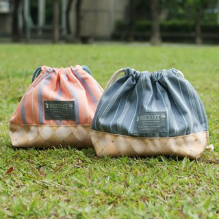[DESTINO STYLE] Japan B / D straight striped beam mouth lunch bag company goods insulation ice protection