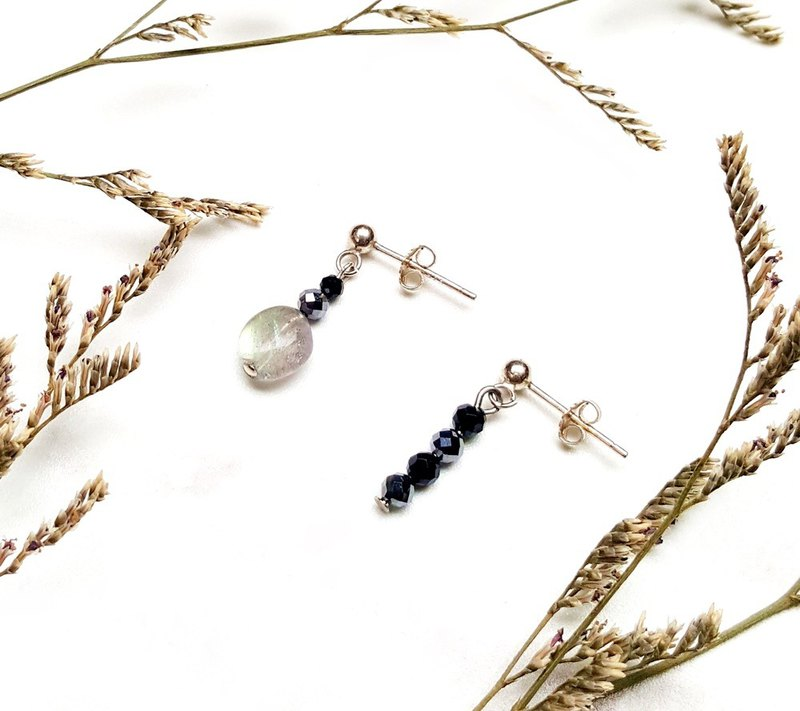 <Pet Love Series-Confidence> Labradorite Unshaped Black Splint THz 925 Asymmetric Sterling Silver Earrings