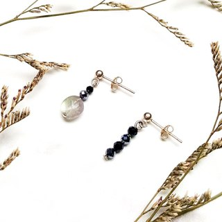 <Pet Love Series-Confidence> Labradorite Unshaped Black Sprite THz Hertz 925 Asymmetric Sterling Silver Earrings