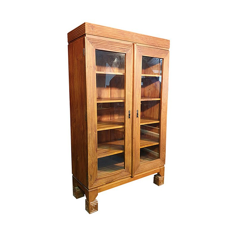 JatiLiving | Teak Glass Double Door Bookcase Display Cabinet Dining Cabinet Cabinet HAAL002