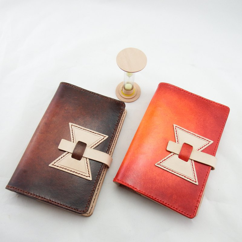 Time hourglass, red happiness, brown hand made leather notebook, handwritten book, book cover (plus gift bookmark)
