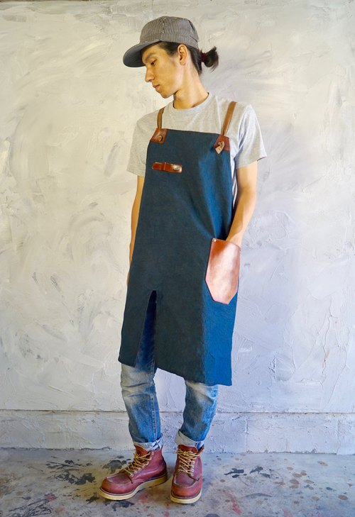 apron tan leather pocket  cross shoulder straps/natural indigo&persimmon dye
