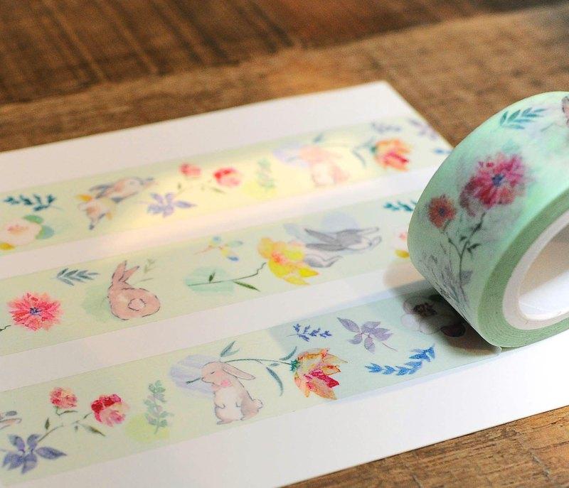 芮比花園 和紙 寬版紙膠帶 水彩花卉 兔子
