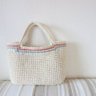 White jute bag / pink line / yuoworks