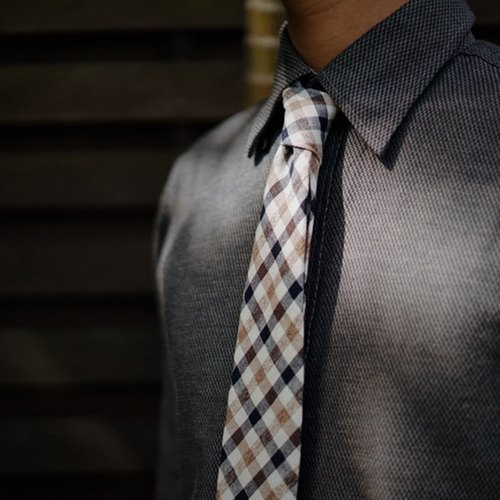 CAVEMAN Accessories - Blue Black Checks Neckties