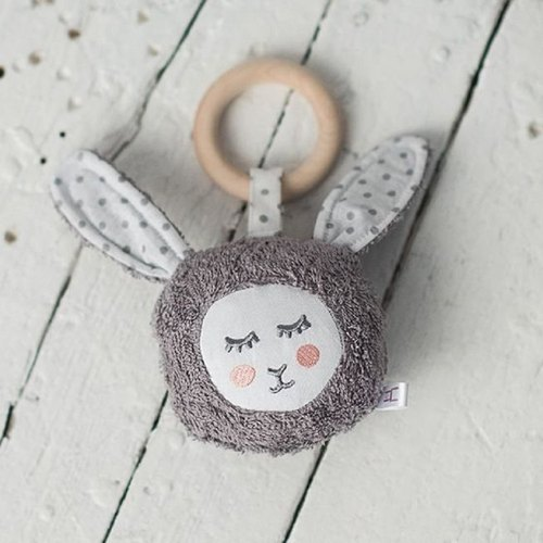 Wooden teething ring toy grey bunny