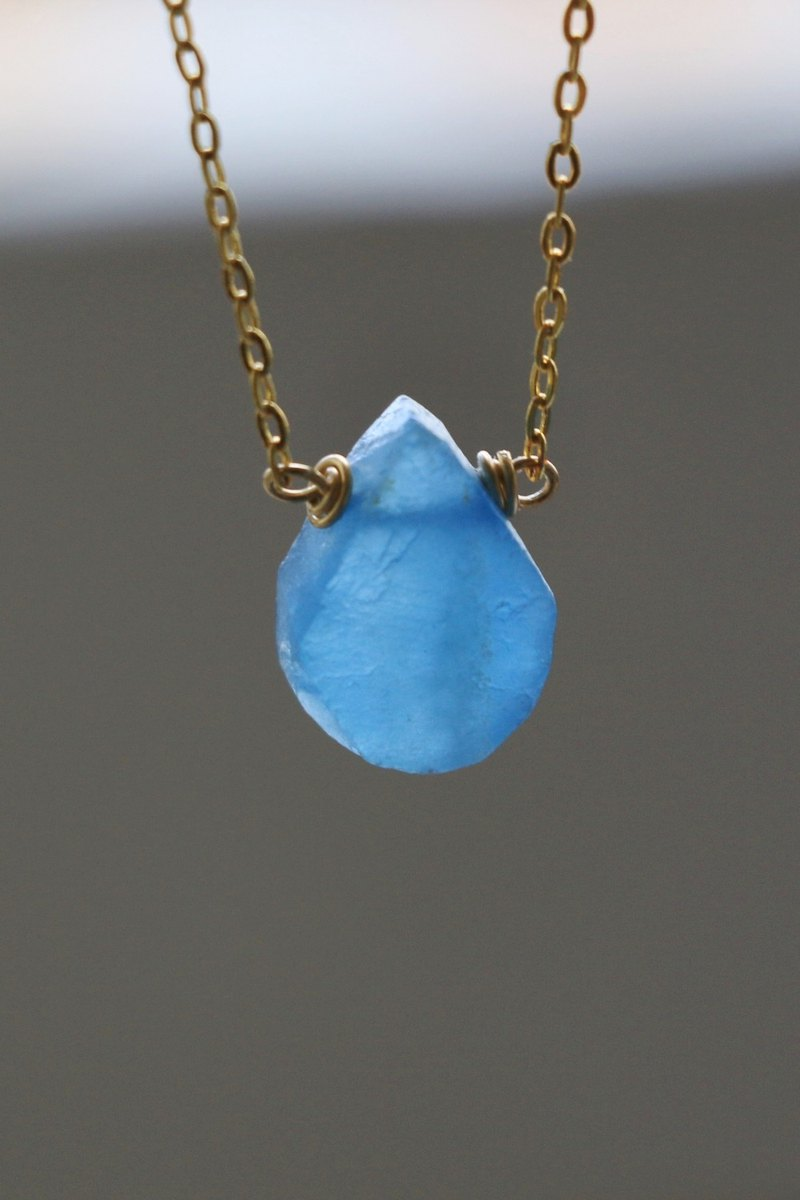 Blue calcite necklace - natural crystal necklace 18k gold plated crystal choker