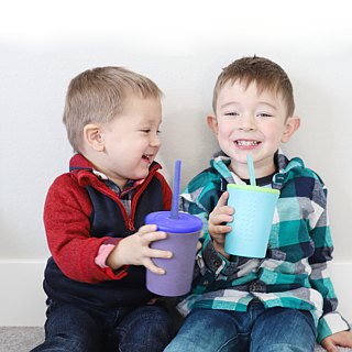 United States silikids Jelly Tableware [TOGO Silicone Environmental Straw Cup Set 12oz] Naughty Purple