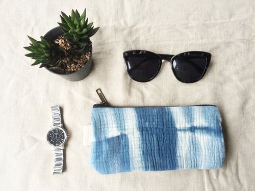 "Hand Dyed Tie-dye 100% Organic Cotton Handmade Pencil case, Coin Purse, Accessories Bag, Small Gadget Bag, Zipper Pouch 8 ""."