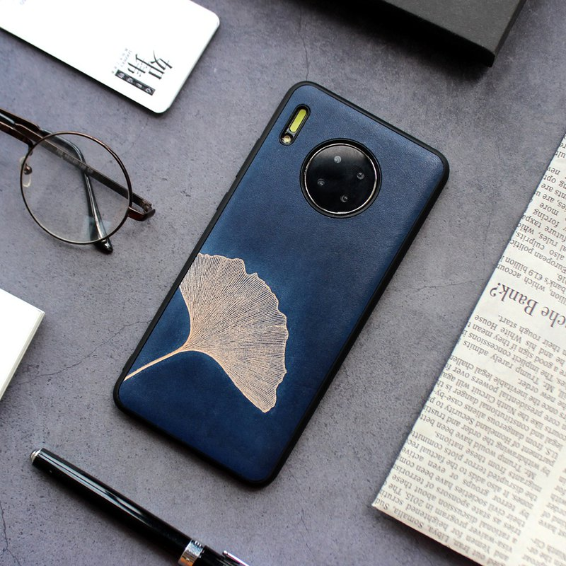 Huawei Ginkgo biloba leather mobile phone shell first layer leather mobile phone case p20 p30 mate20 pro