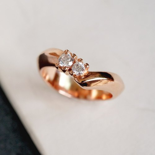 Minimalist ribbed double diamond rose gold ring 925 sterling silver can be customized pure silver customized ring color
