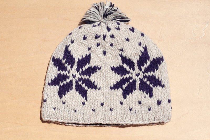 Limited Christmas gift by hand, hand-woven pure wool hat / knitted caps / bristles hand-woven caps / wool cap (made in nepal) - Nordic snowflake national totem