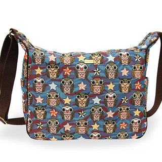 Night owl texture painting Ti cat ears messenger bag coffee blue -REORE