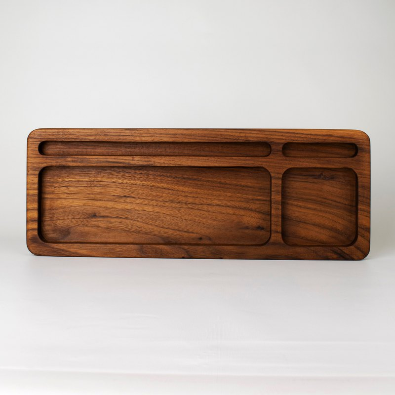 100% log multi-function storage tray black walnut table counter storage helper