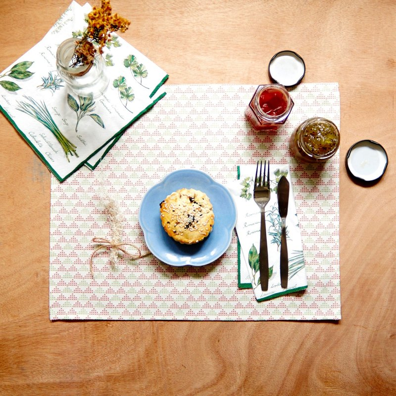 Handmade Set of 2 Cross Print Pattern Fabric Placemats, Table placemats
