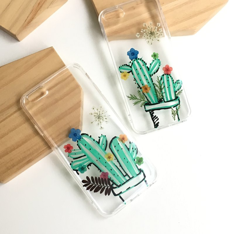 It took a long cactus :: real flowers hand-painted pressedflower X Mobile Shell