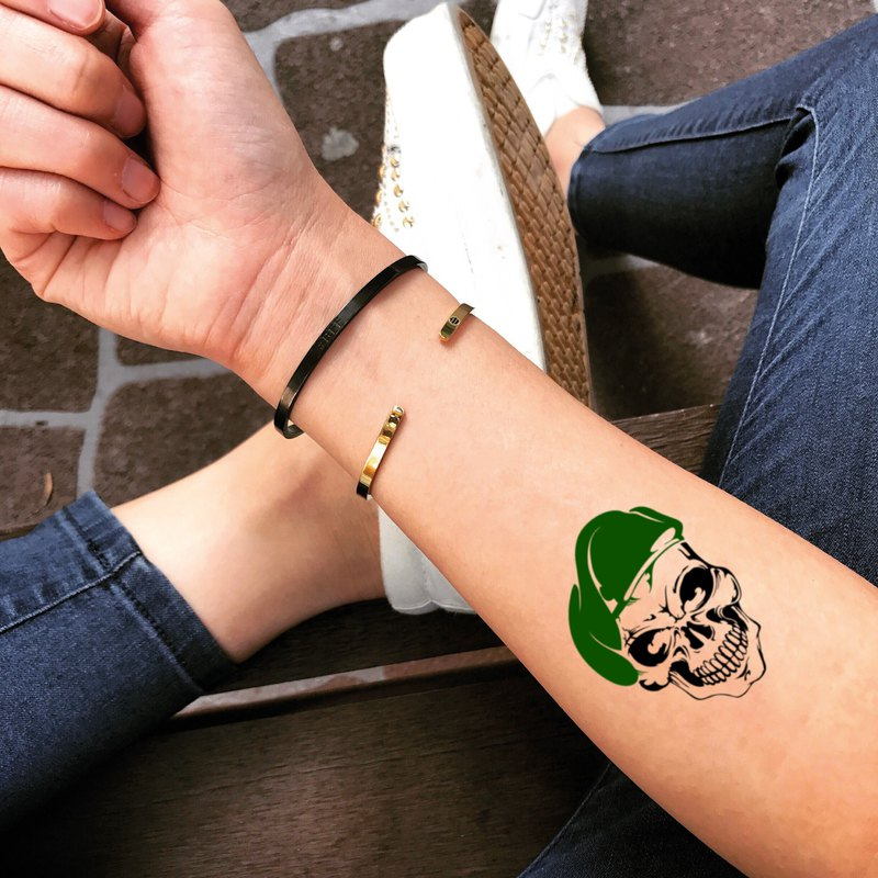 Green Beret Temporary Fake Tattoo Sticker (Set of 2) - OhMyTat