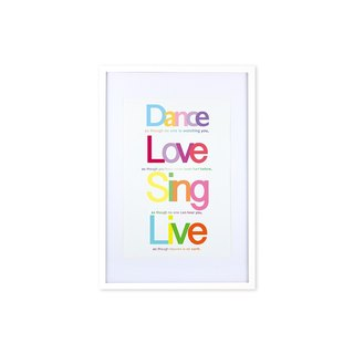 HomePlus Decorative Frame - Quote Series DanceLoveSingLive - White 63x43cm Homedecor
