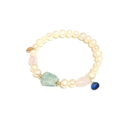 Little Elegant Aquamarine with Pearl Bracelet