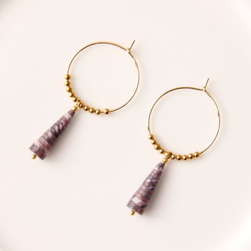 MUSEV purple pattern small circle copper beads earrings