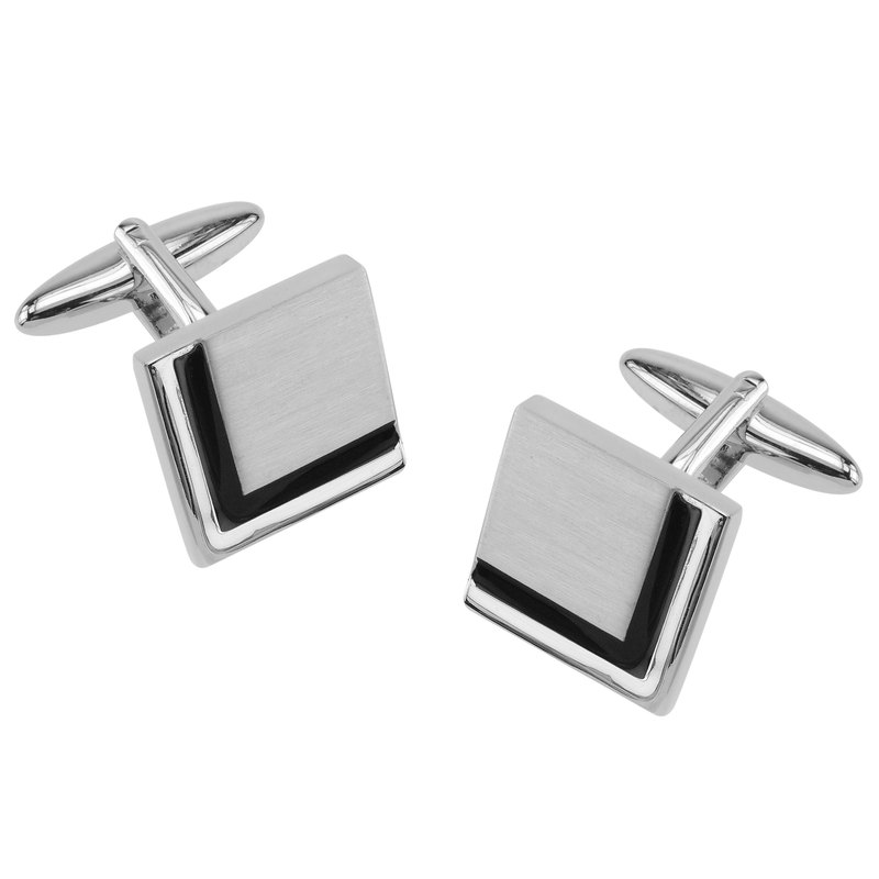 Black Enamel Border Square Cufflinks