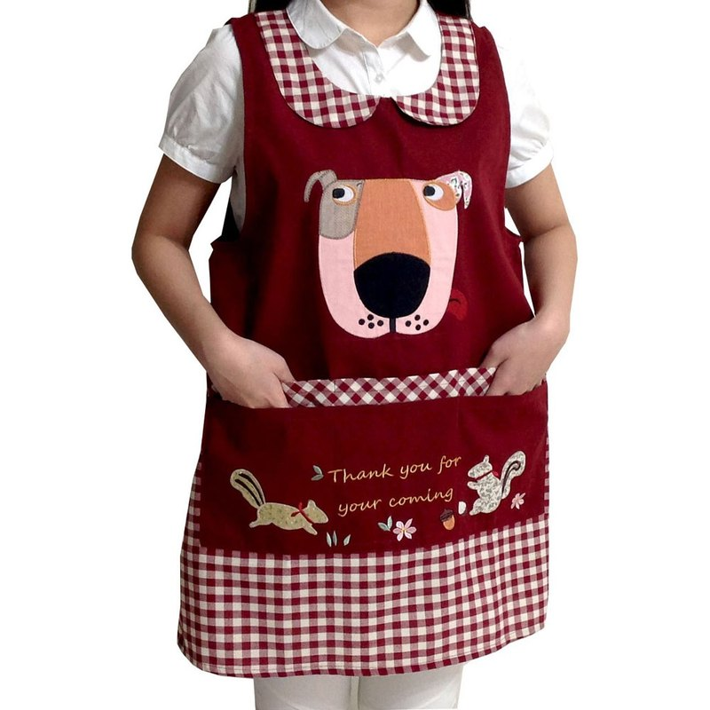 [BEAR BOY] breeze six purse naughty dog ​​apron - red