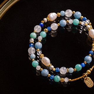 <Slow temperature natural stone>C1239 pearl blue double circle bracelet // Venus tears