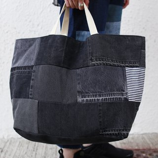 Patchwork Black Denim Tote Bag 黑色牛仔拼布大袋
