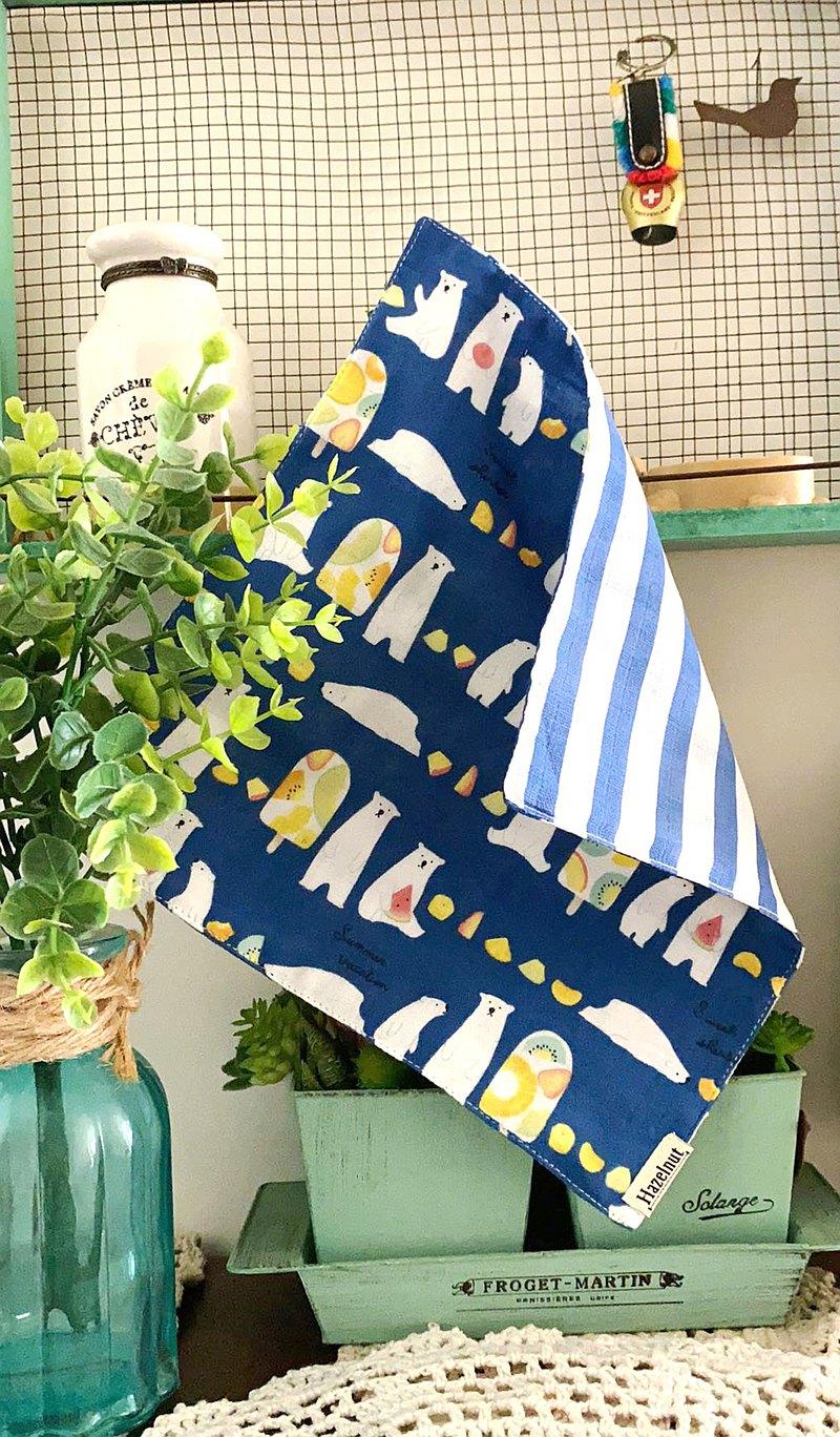 小白熊子圖案口水巾/小手帕/小方巾/二重紗布
