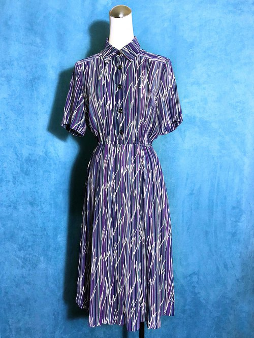 Totem stripe short-sleeved vintage dress / Bring back VINTAGE abroad
